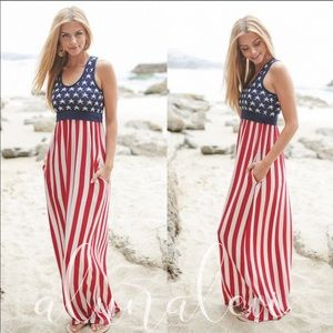 🇺🇸SALE🇺🇸 American Flag Racerback Maxi Dress